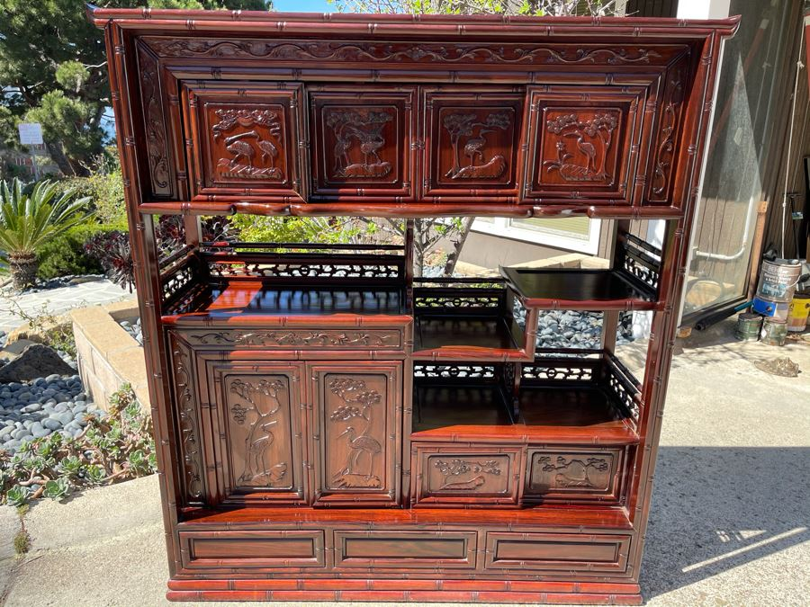 Stunning Carved Rosewood Bookshelf Cabinet With Drawers (Top Corner Of Cabinet Has Small Chip) 46W X 14D X 51H [Photo 1]