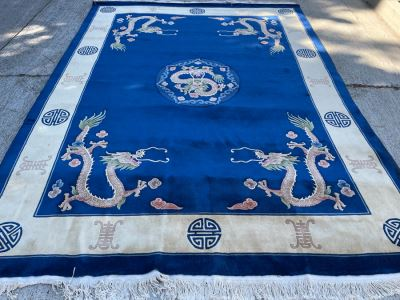 Large Thick Pile Peking Chinese Area Rug With Dragon Design Apx 9' X 12' (Needs To Be Cleaned)