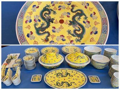 Large Chinese Porcelain China Set With Dragon Design