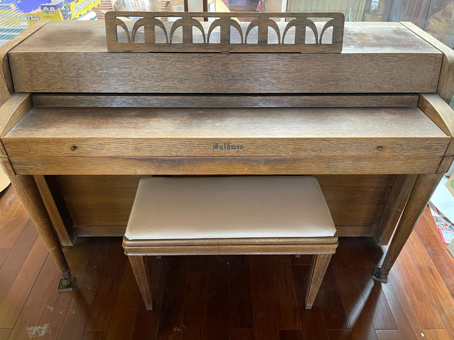 Mid-Century Baldwin Upright Piano With Bench 5'W X 25D X 3'H [Photo 1]
