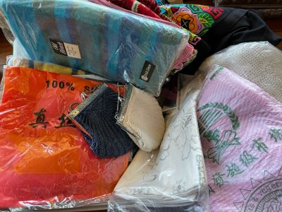 Plastic Bin Filled With New Linens, Beaded Purses, Tablecloths, Handbags (See All Photos)