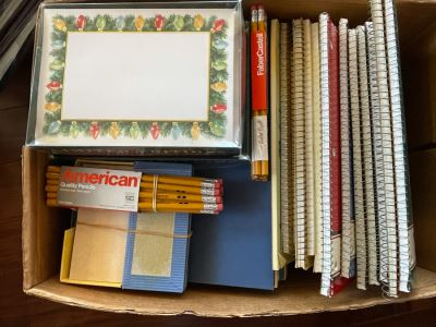 Office Supplies Pencils, Notebooks / Greeting Card Lot