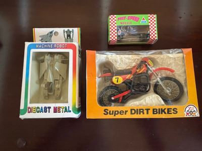 Vintage New Old Stock Toy Lot Featuring Transformer Robot, Super Dirt Bike And Car