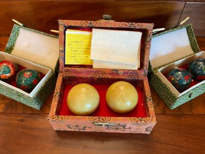 JUST ADDED - Chinese Jade Graniphyric Jade Boading Balls And Pair Of Cloisonne Boading Balls In Boxes