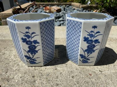 JUST ADDED - Pair Of Blue And White Flower Pots Apx 12H