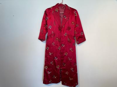 JUST ADDED - Chinese Red Silk Embroidered Robe Women's Size S