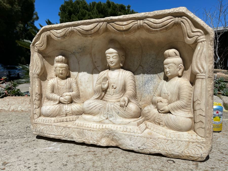 JUST ADDED - Vintage Relief Carved Stone Buddha Sculpture - (Very Heavy ~200lb) 24W X 6D X 16H