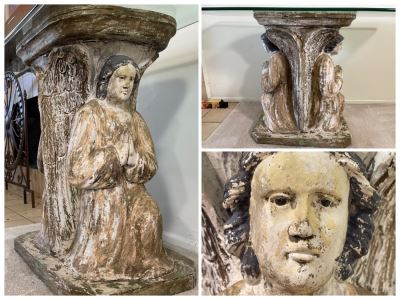 Antique Carved Wooden Praying Angels With Glass Eyes Shabby Chic Console Table - Base Is 24W X 15D X 28H / Glass Is 48W X 18D