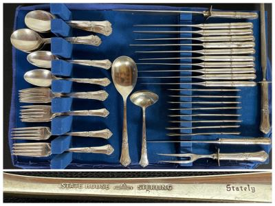 Sterling Silver Flatware Set By State House Stately Pattern - See Details For Breakdown - Total Sterling Silver Weight Not Including Sterling Handled Knives 1,737g