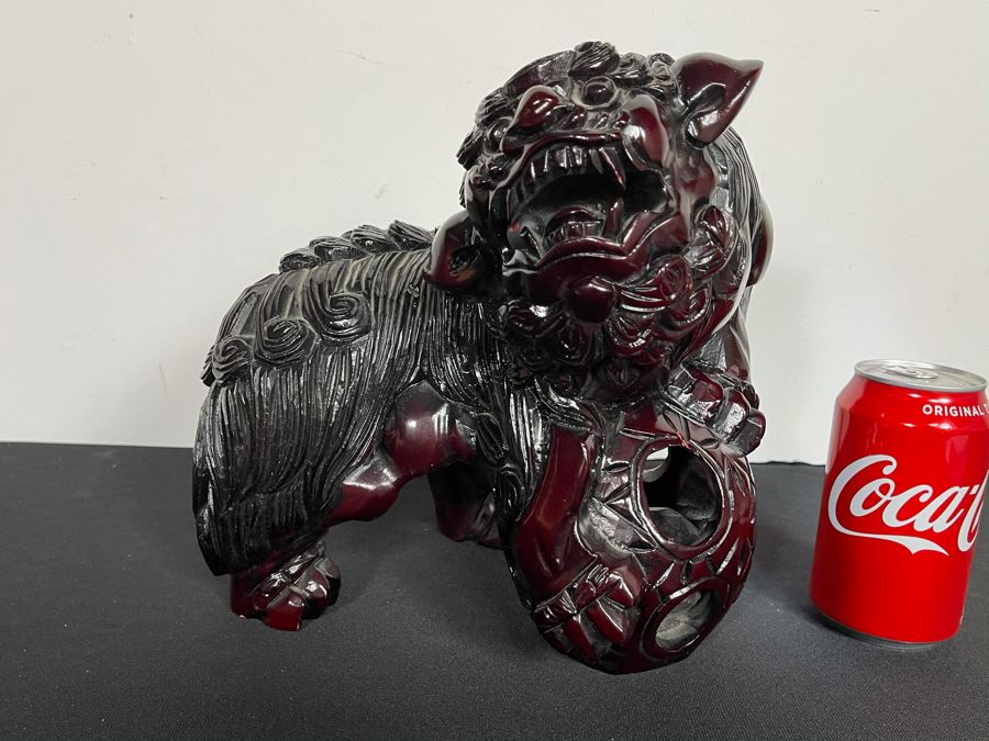 Vintage Asian Carved Wooden Foo Dog With Floating Ball 10W X 7D X 10H