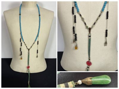 Antique Chinese Mandarin Court Necklace 32'L