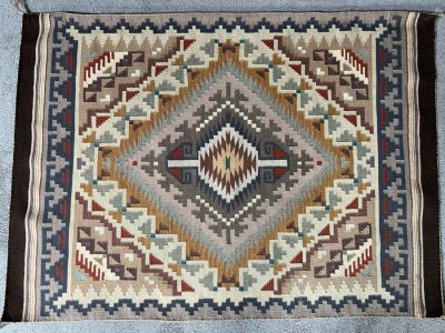 Vintage 1950s Navajo Wide Ruins Native American Vegetable Dye Rug 48 X 34