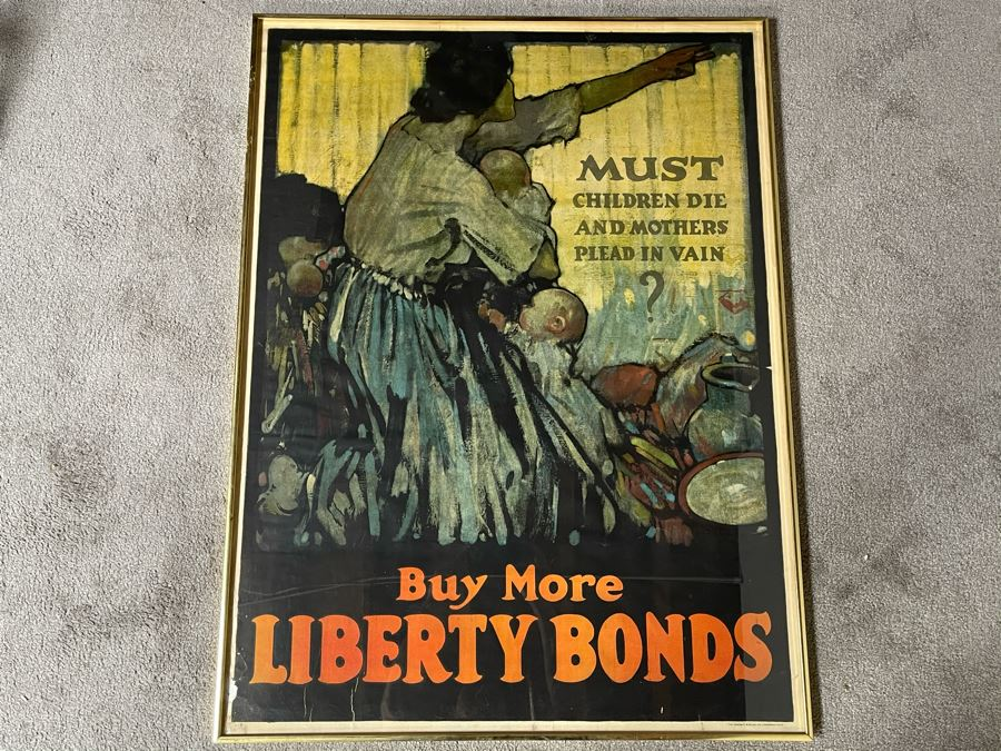 Antique 1918 Original World War I Framed Poster: 'Must Children Die And Mothers Plead In Vain?' Buy More Liberty Bonds The Sackett & Wilhelms Corp NY 1-B 30 X 40