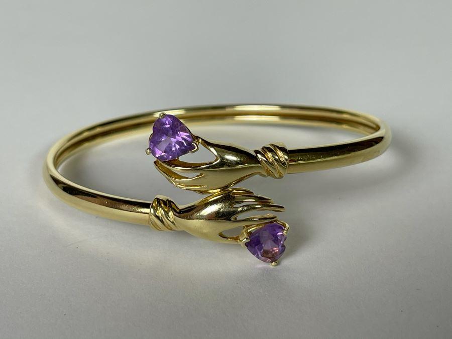 14K Gold Hands Holding Amethysts Bracelet 2.5W 8.2g [Photo 1]
