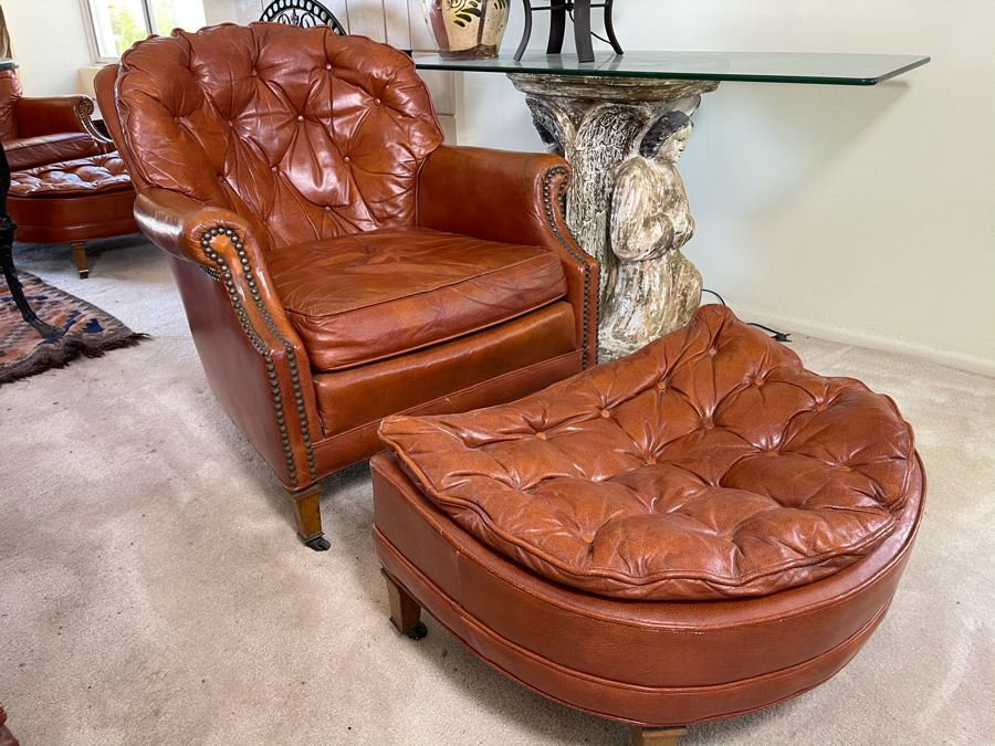 Vintage Tufted Leather Armchair With Ottoman By Century Furniture Hickory, NC [Photo 1]