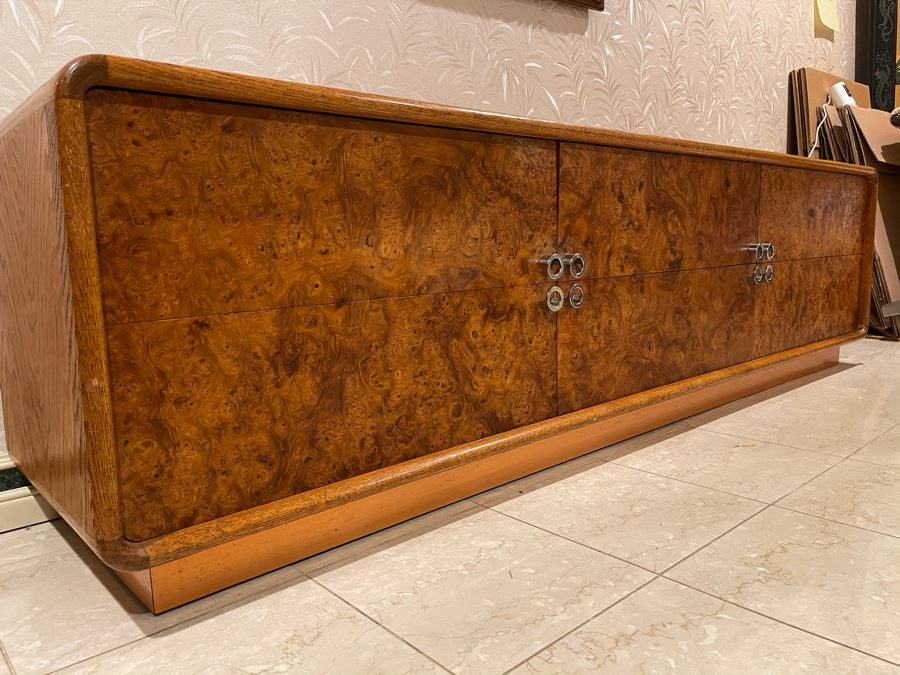 Rare Lou Hodges For California Design Group Oak Credenza With Burled Walnut Front, Chrome Hardware And Copper Base 84W X 18D X 23H (Client Purchased Lou Hodges Personal Home) [Photo 1]