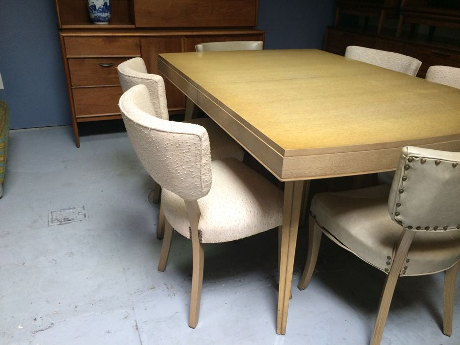 Rway R Way Retro Mid Century Dining Table With 6 Chairs And 2 Hidden Leaves