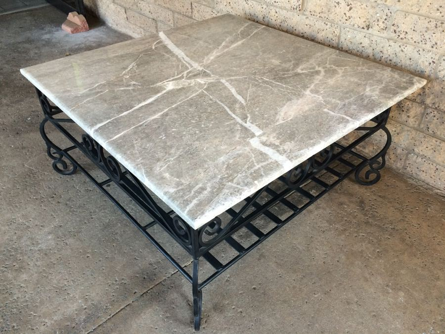 Large square coffee table with heavy wrought iron base and for Wrought iron table bases marble top