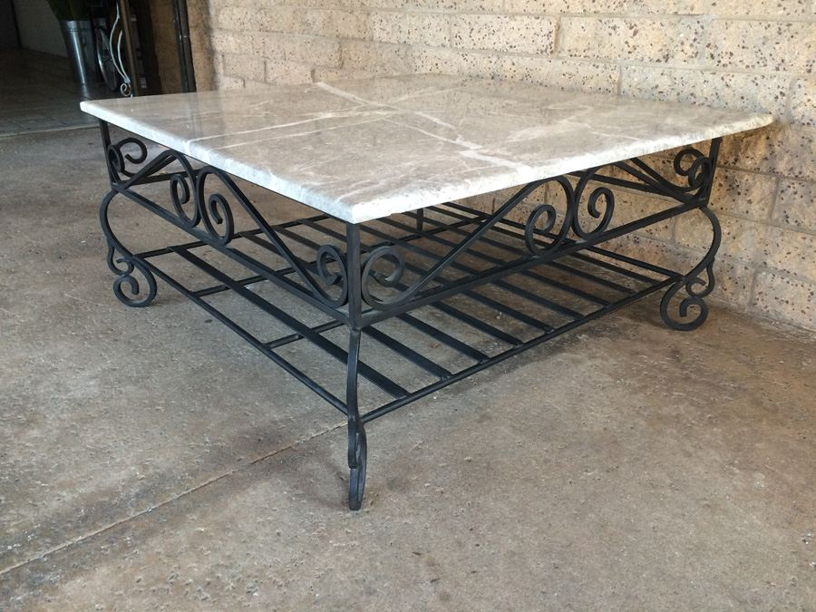 Large square coffee table with heavy wrought iron base and for Square wrought iron coffee table