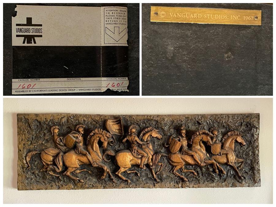 Vintage 1967 Mid-Century Modern Vanguard Studios Beverly Hills CA Relief Wall Sculpture Roman Soldiers On Horses 63L X 19H X 6D