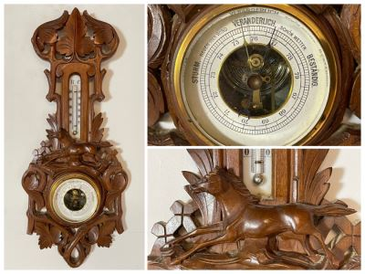 Antique German Hand Relief Carved Wooden Weather Station Barometer Thermometer Horse Design 8W X 20H