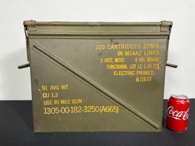Vintage M61 Gun 20MM Ammunition Cartridge Military Metal Box Case With Handles 19W X 8D X 14H
