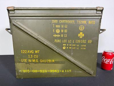 Vintage Ammunition Cartridge Military Metal Box Case With Handles