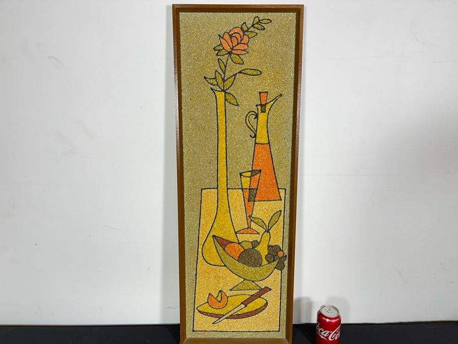 Vintage Mid-Century Modern Framed Colored Stone Mosaic Metal Still Life Artwork Made In Sweden Swan 12.5W X 36.5H