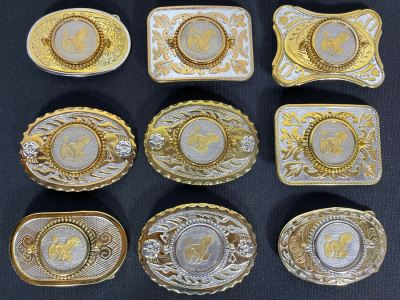 Set Of Nine Gold Electroplated United States One Dollar Coins Set In Base Metal Western Belt Buckles