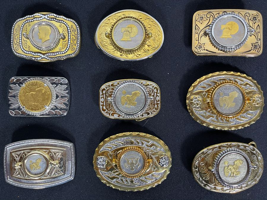 Set Of Nine Gold Electroplated United States One & Half Dollar Coins Set In Base Metal Western Belt Buckles [Photo 1]