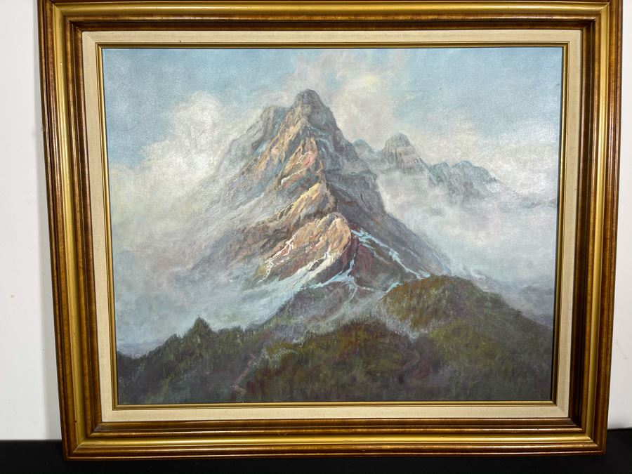 Original Framed Oil Painting Of Mountains By Marilyn Berman Personalized To Client On Back Vintage 1985 On Canvas 30 X 24