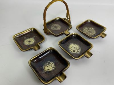 Vintage German Mid-Century Modern Ashtrays With Carrying Case 3W X 3.5D