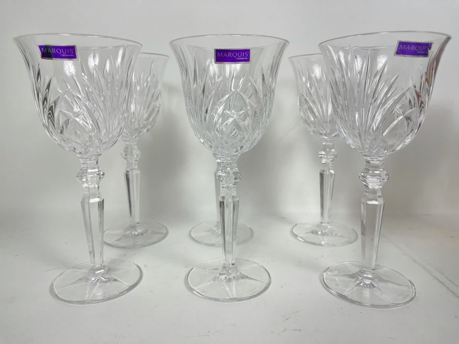 Set Of Six New Marquis Waterford Crystal Stemware Glasses 7.75H