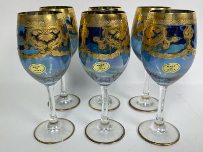 Set Of Six New Vintage Italian Glass Wine Glasses  7.5H