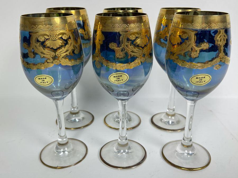 Set Of Six New Vintage Italian Glass Wine Glasses  7.5H