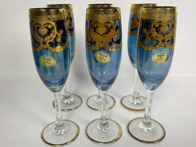 Set Of Six New Vintage Italian Glass Champagne Flutes 8.25H