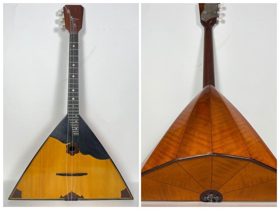 Beautiful Balalaika Russian Stringed Musical Instrument Guitar With Triangular Wooden Body 26L X 16.5D X 5H