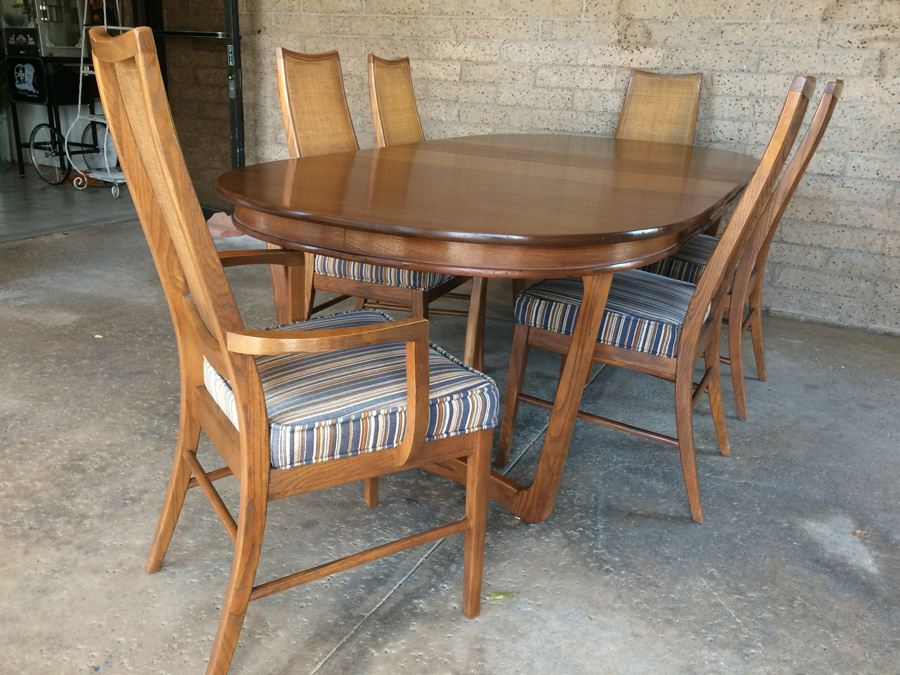 Stanley Mid Century Dining Table With 6 Cane Back Chairs And 2 Leaves [Photo