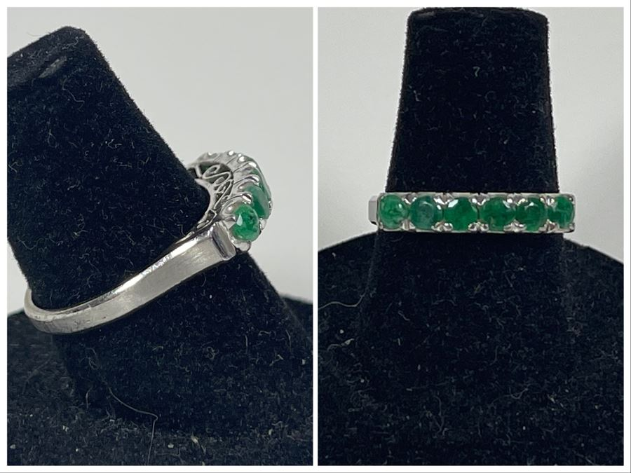 18K Gold Emerald Ring Size 6.5 2.5g (One Of Three Rings In Sale)