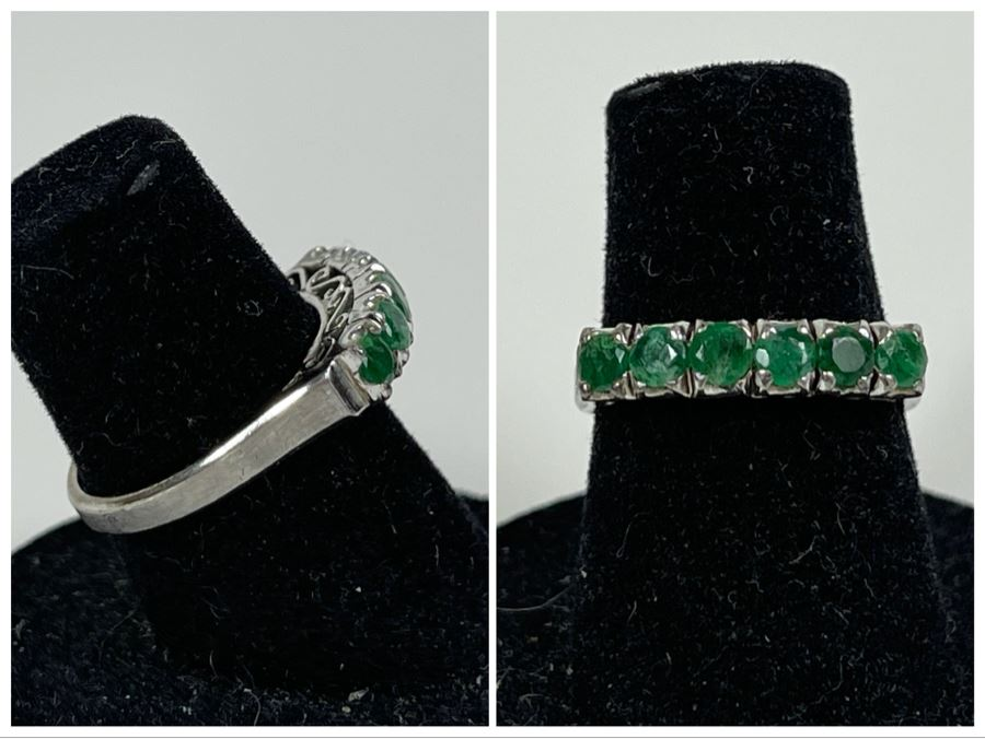 18K Gold Emerald Ring Size 6 2.4g