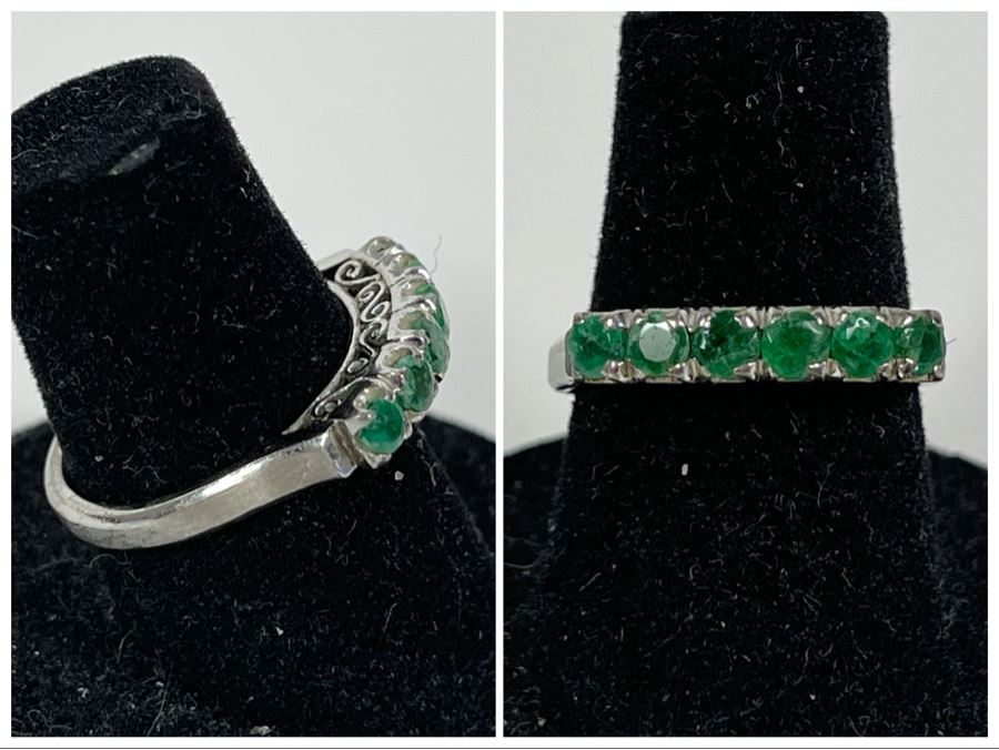18K Gold Emerald Ring Size 6.25 2.5g