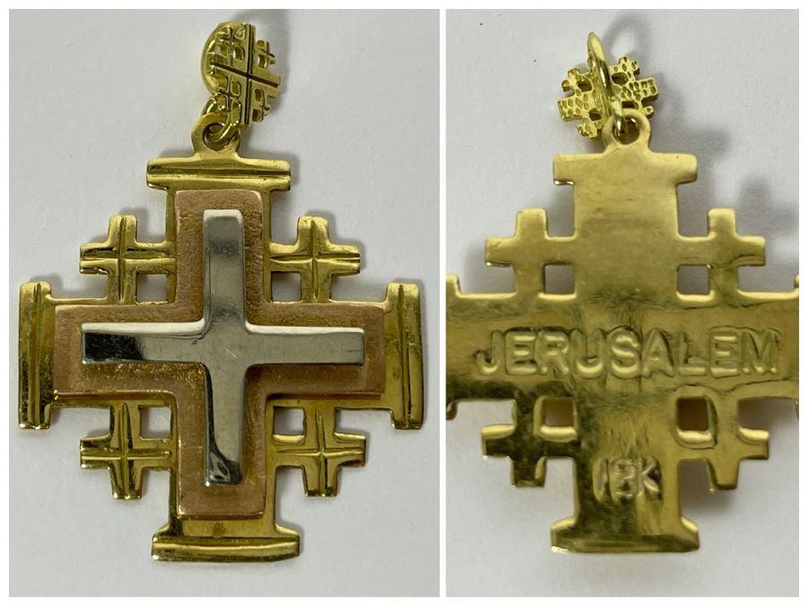 18K Gold Cross Jerusalem Pendant
