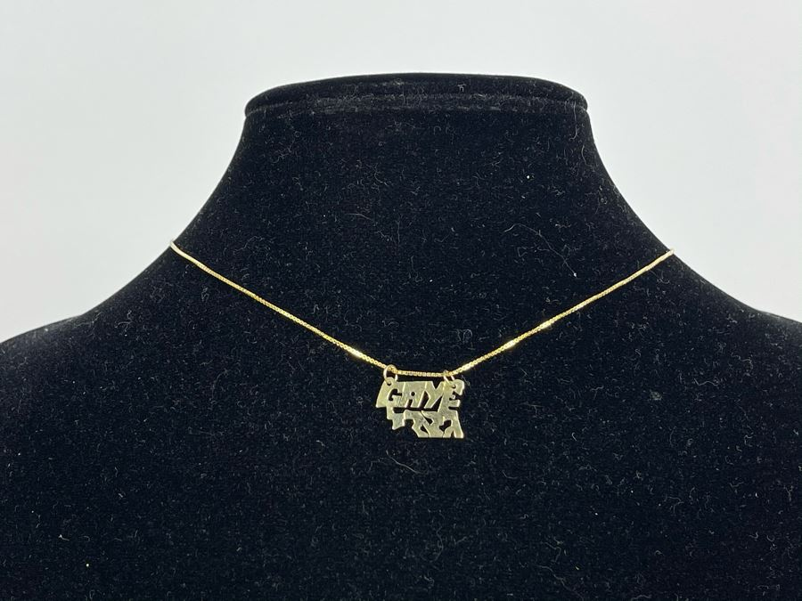 14K Gold 16' Chain Necklace With 14K Gold Pendant 2.4g