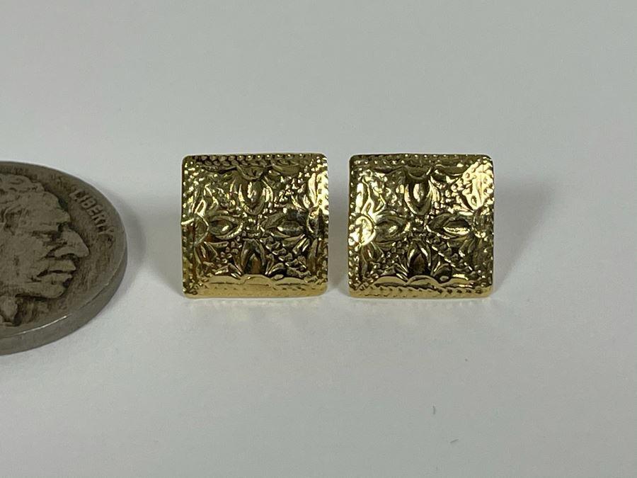 14K Gold Post Earrings 0.5g