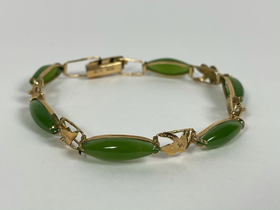 14K Gold Nephrite 6.5' Bracelet 8g