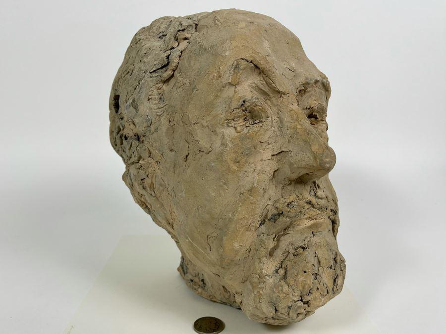 Original Fred Hocks Self-Portrait Clay Sculpture - 7W X 9D X 9H - He's Considered The Dean Of The San Diego Moderns