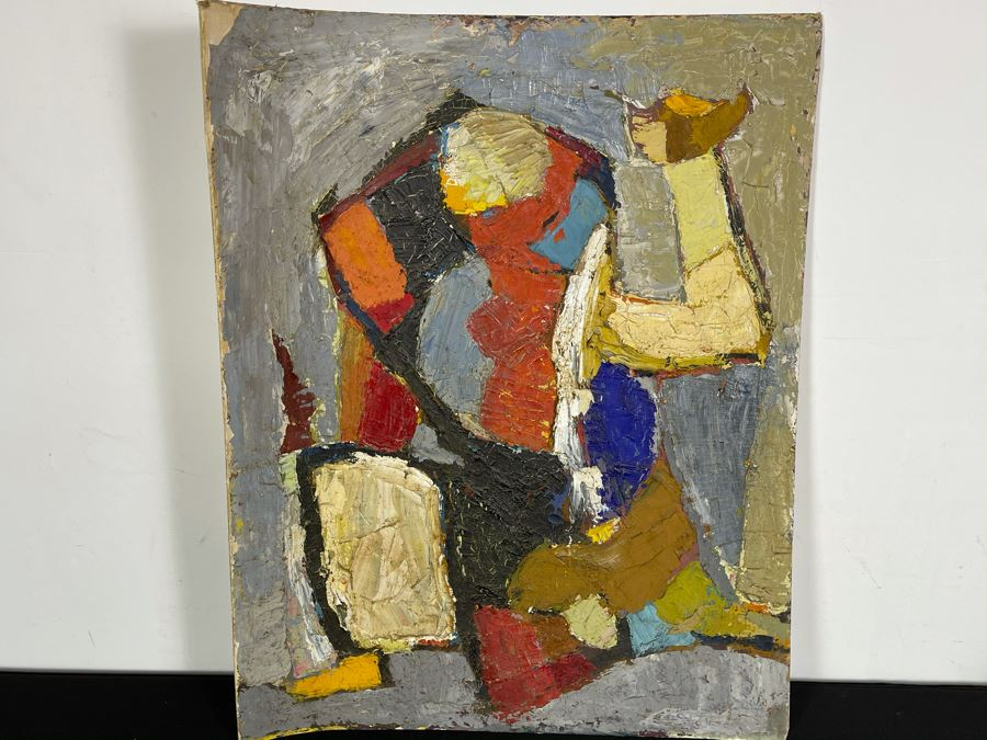 Original Signed Fred Hocks (1886-1981) Painting On Canvas Board 24 X 30 (Ferdinand Hocks) - Faded Tag On Back Indicates 1950s Painting Featured In The Museum Of Art Exhibit - Board Is Warped In One Corner With Damage As Shown In Photos