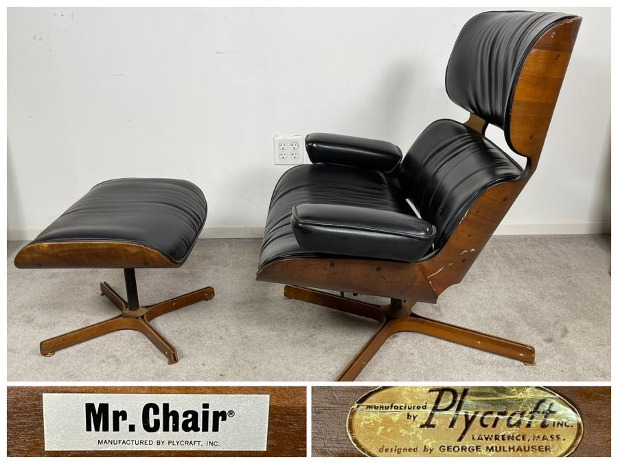 George Mulhauser Mid-Century Modern Mr. Chair Armchair And Ottoman For Plycraft