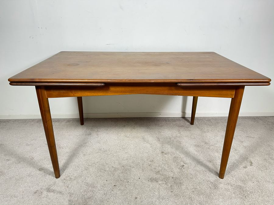 Mid-Century Danish Modern Teak Dining Table With Built-In Leaves Imported By Edgaard Inc Los Angeles, CA 55W (W/O Leaves) X 35D X 29H (Built-In Leaves Extend Table 38')