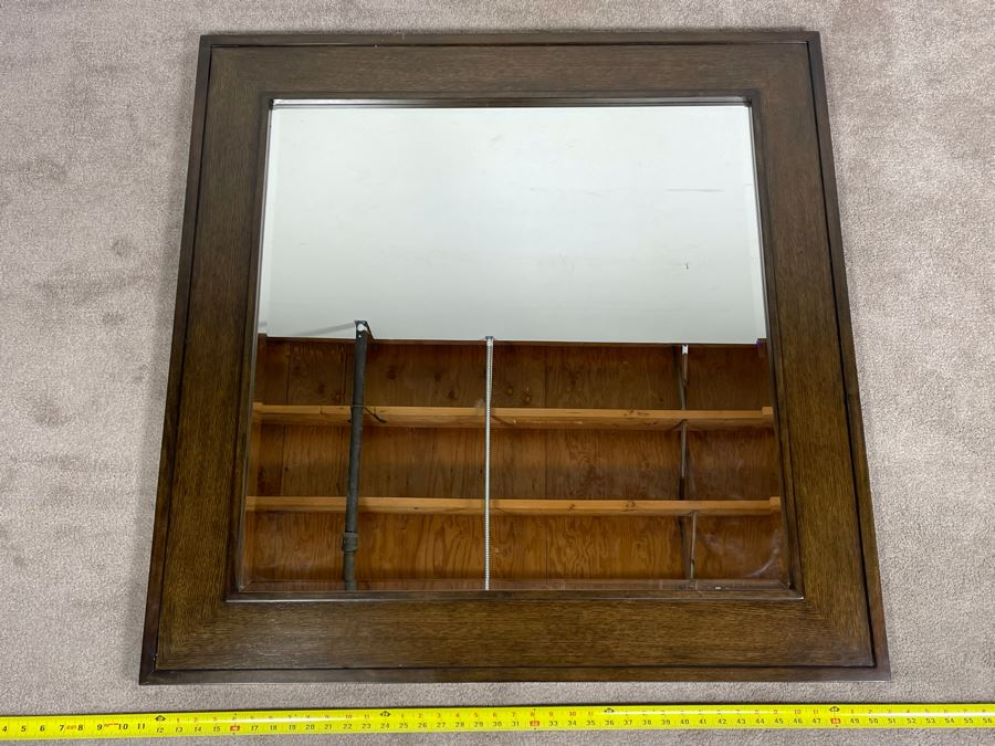 Contemporary Modern Beveled Glass Wall Mirror (Matches Dresser) By Lexington Collonade Design 40W X 40H Solid Wood Retailed For $629